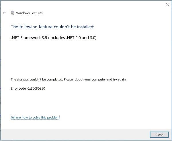 رفع مشکل نصب NET Framework 3.5 در ویندوز ۱۰