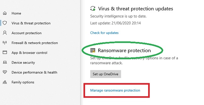 Enable ransomware protection in Windows 10