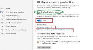 فعال کردن قابلیت ضد باج افزار در ویندوز 10