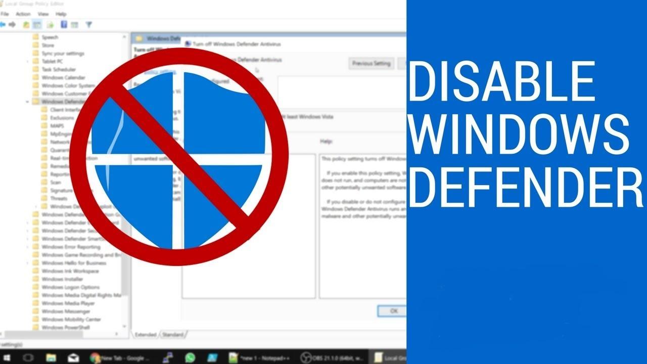 نحوه غیر فعال کردن Windows Defender آنتی ویروس ویندوز ۱۰