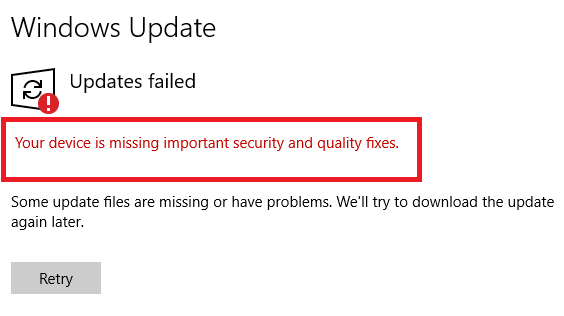 حل مشکل Your Device is Missing Important Security and Quality Fixes  در ویندوز ۱۰