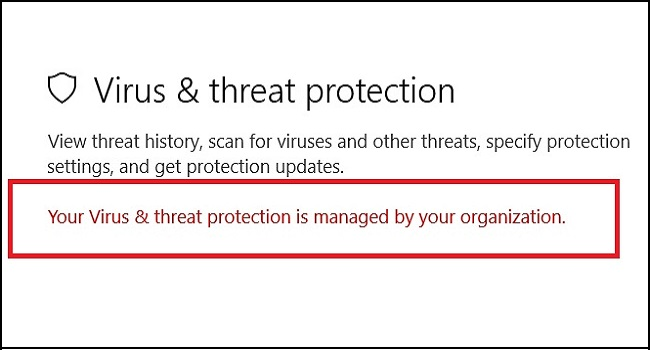 رفع مشکل your virus & threat protection is managed by your organization
