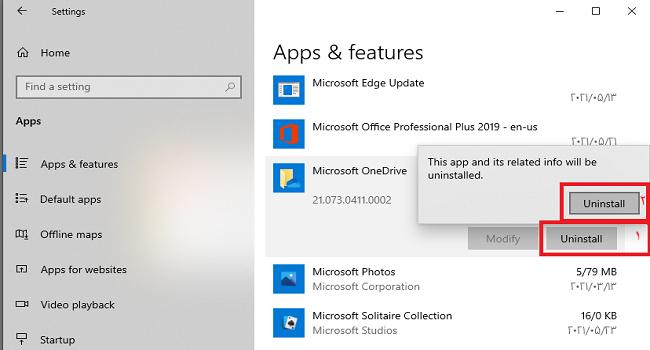 آموزش حذف OneDrive در ویندوز 10