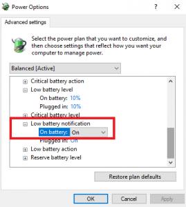 اعلان کم شدن باتری لپ تاپ