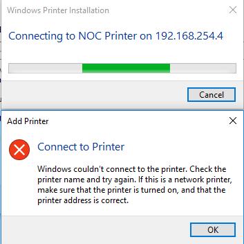 ارور windows couldn't connect to the printer